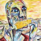 He had been hungry for days when he spied a man carrying a dozen ears of corn.... now they were all his.