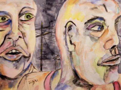 Lost in the sad part of town. © 2021 By Duane Kirby Jensen, 6 1/2 x 9 1/2 ink sketch and watercolor  on watercolor pape