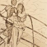 Lovers find a moment to embrace watching the Portuguese rock formations  09/23/19 // 23/09/19 sketch by Duane Kirby Jensen