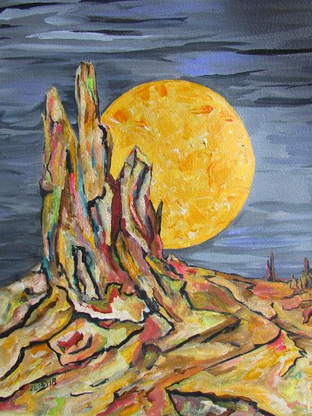 The hunters moon reveals the carcass of a once green valley full of birds in flight