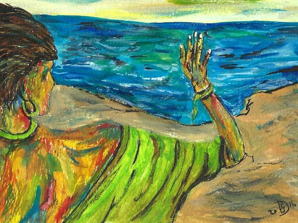 She Waves Farewell to Her Lover, Who Never Turns to Acknowledge Her Longing