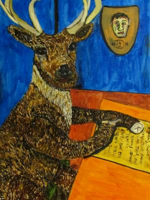 The Red-tailed Buck Pens His Newest Safari Club Poem While Dreaming of His Next Kill.