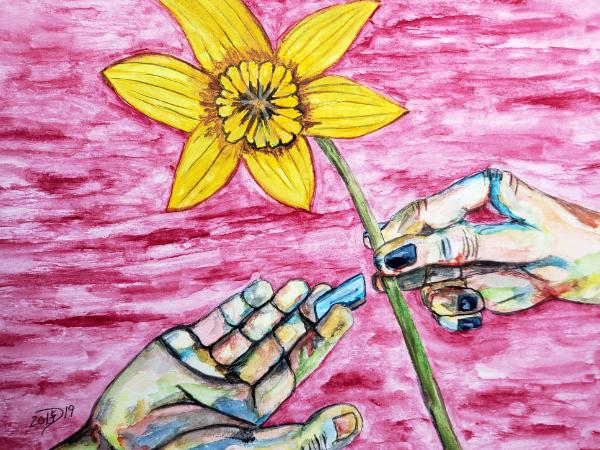 She gave him a flower and he offered her a razor blade.... each speaking a language the other understood.