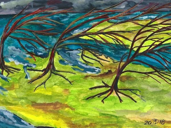 The Island of relentless winds © 2018 By Duane Kirby Jensen,  5.5 x 8.5 ink on watercolor paper