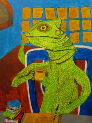 The Lizard Poet Relaxes as he thinks of the Next Right Word