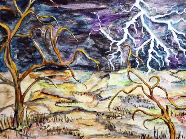 The silent city sits unimpressed as thunder rolls over the land and lightening dances gleefully - ...
