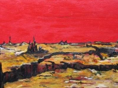 Fire in the Sky, Silence Upon the Land. © 2009 by Duane Kirby Jensen, 12 x 24, Acrylic on DeepEdge canvas.