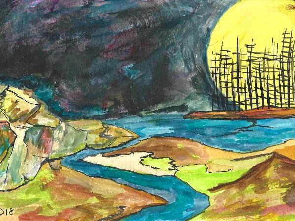 Island of dancing souls © 2018 By Duane Kirby Jensen,  5.5 x 8.5 ink on watercolor paper