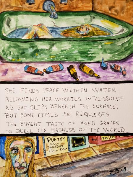 She finds peace within water, allowing her worries to dissolve as she slips beneath the surface.  But sometimes she requires the